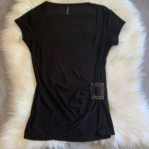 Black Wrap Style Short Sleeve Blouse